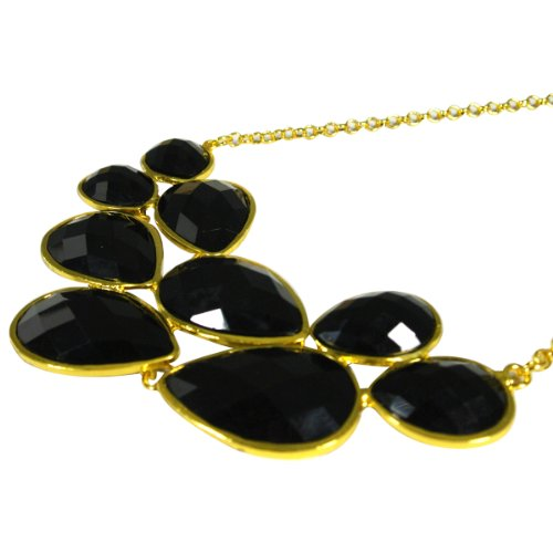 Black Mini Bubble Bib Statement Necklace + Black Drop Shape Bubble Statement Necklaces [A64444, A63993]