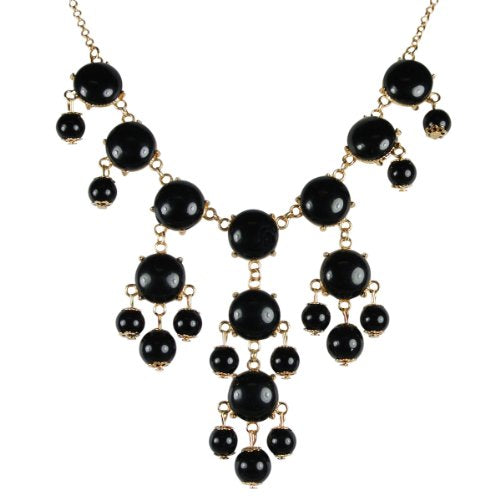 Black Mini Bubble Bib Statement Necklace + Green Drop Shape Bubble Statement Necklaces [A64444,A64286]