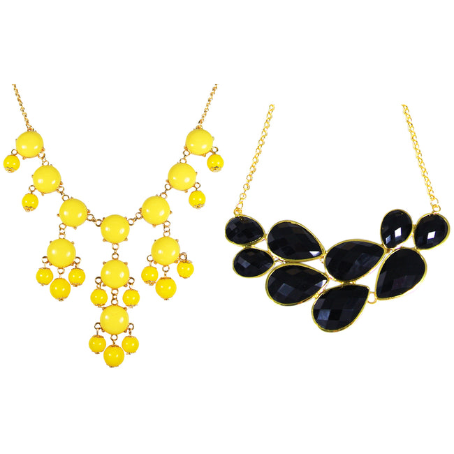 Yellow Mini Bubble Bib Statement Necklace + Drop Shape Bubble Statement Necklaces