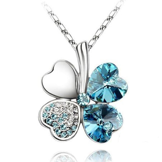 Gold Plated Swarovski Elements Crystal Heart Shaped Four Leaf Clover Pendant Necklace and Stud Earrings Jewelry Set (Sea Blue)