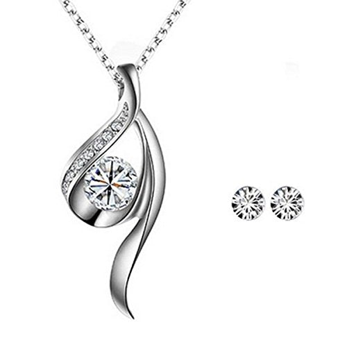 Wrapables Silver Tone True Elegance Crystal Necklace and Stud Earrings Jewelry Set