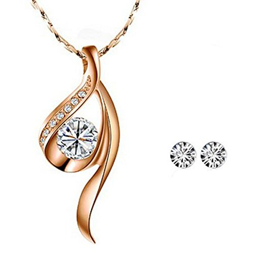 Wrapables Gold Tone White Crystal True Elegance Crystal Necklace and Stud Earrings Jewelry Set