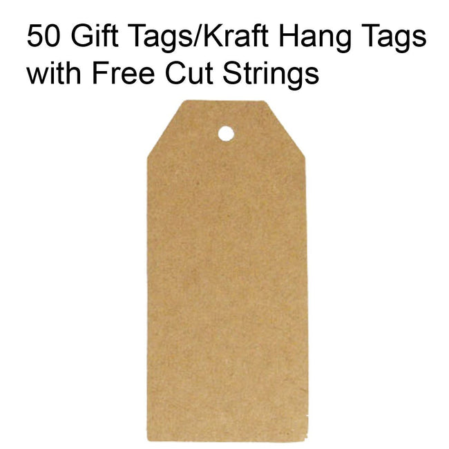 50 Gift Tags/Kraft Hang Tags with Free Cut Strings