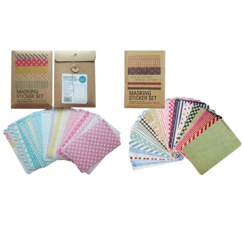 Wrapables Decorative Patterns Masking Sticker Set, Solid Color