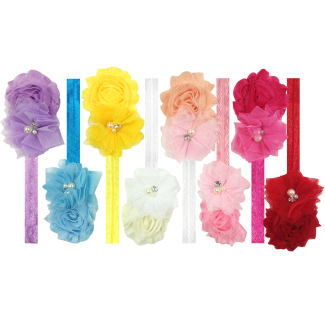 Kella Milla Frayed Shabby Chic Floral Headbands for Baby & Toddler Girls (Set of 8)