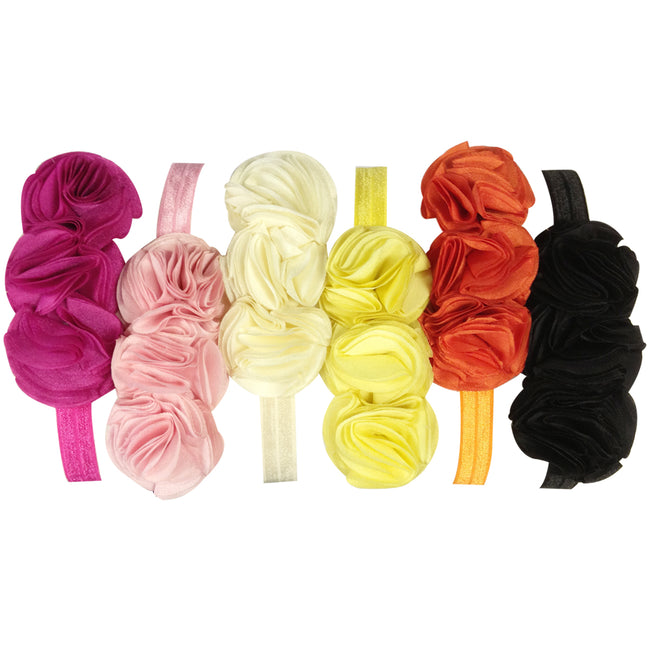 Kella Milla Set of 6 Assorted Polyester Triple Florets Baby Headbands