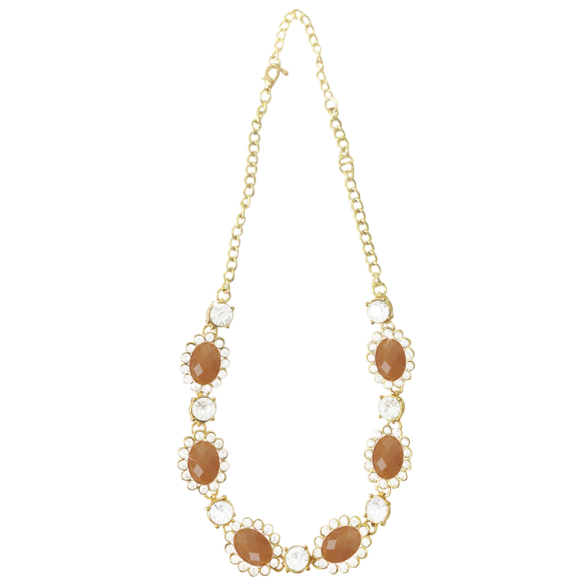 Wrapables Faceted Oval Gemstone and Crystal Necklace