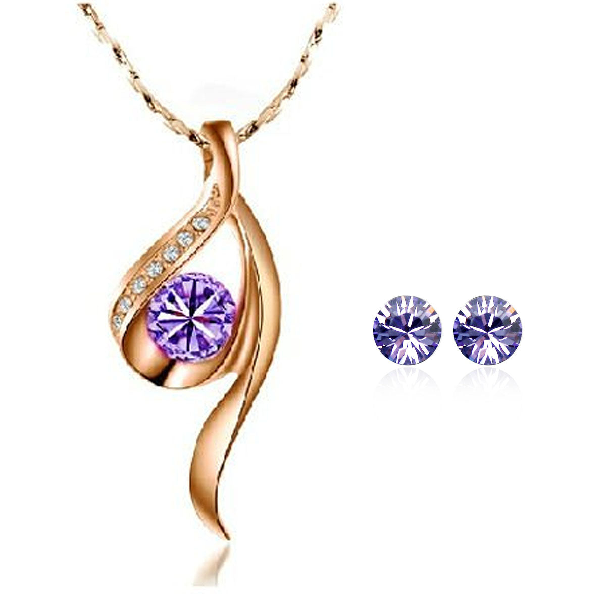 Wrapables Gold Tone Purple True Elegance Crystal Necklace and Stud Earrings Jewelry Set