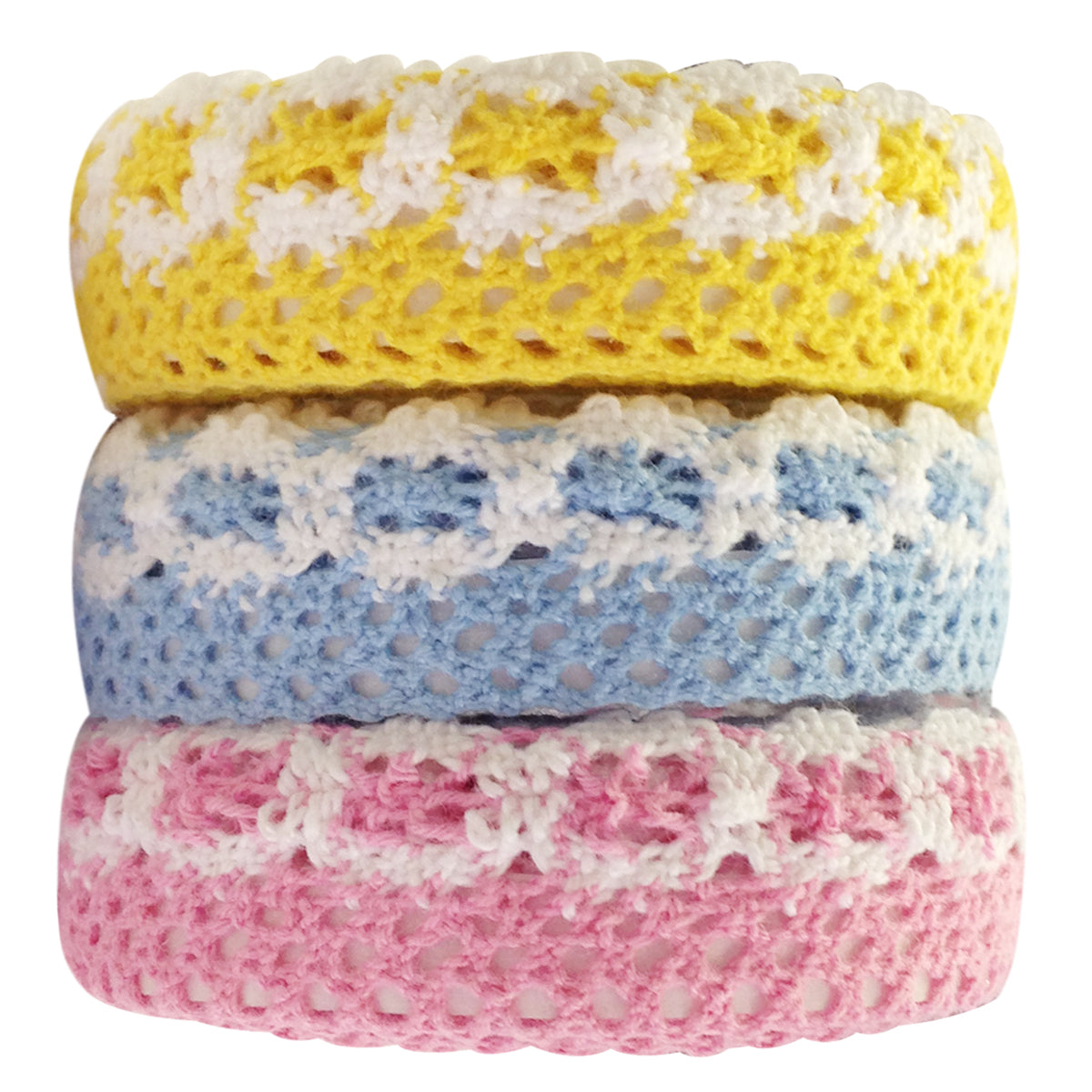 Wrapables Colorful Decorative Adhesive Lace Tape Set Of 3 ( Yellow, Blue, Pink)