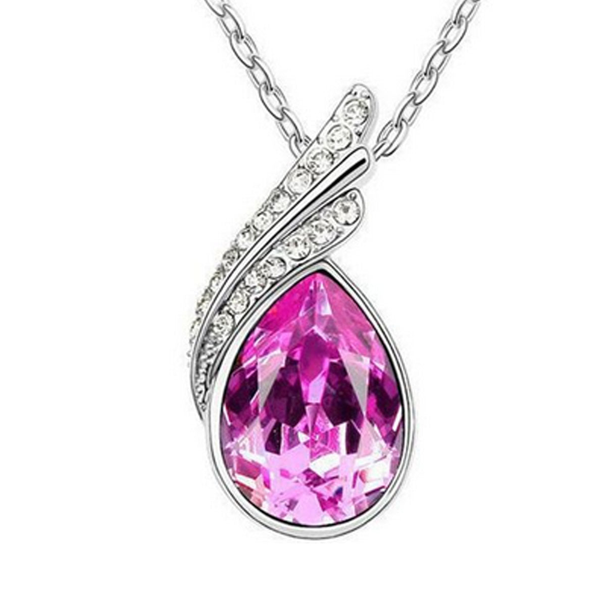Wrapables Elegant Teardrop Swarovski Elements Crystal Pendant Necklace