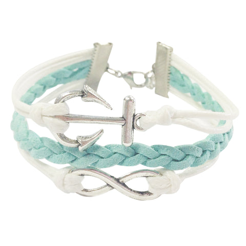 Wrapables Adjustable Love Leather Corded Bracelet