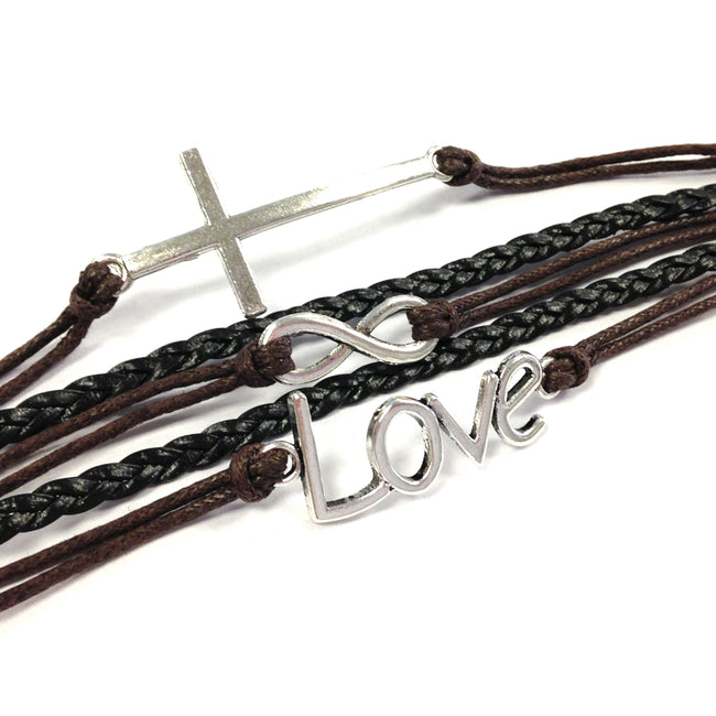 Wrapables Vintage Leather and Rope Infinity Bracelet