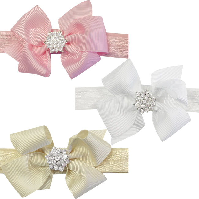 Kella Milla Ribbon Bow with Rhinestone Button Center Stretchy Headband, Set of 12