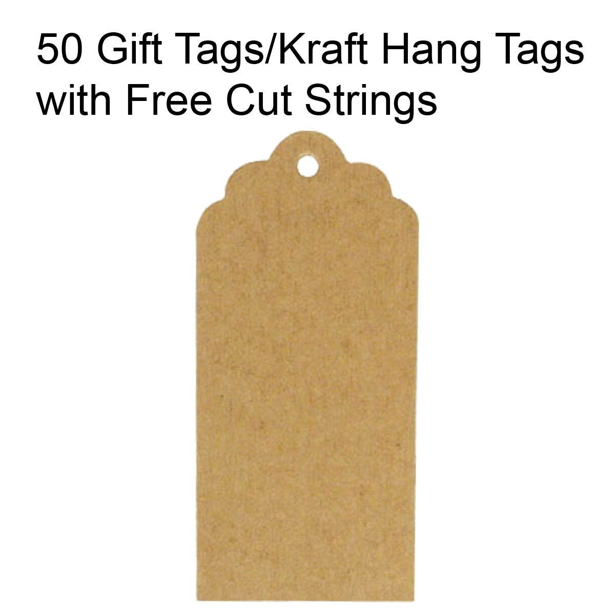 Wrapables 50 Scalloped Gift Tags/Kraft Hang Tags with Free Cut Strings & Set of 3 Washi Tape