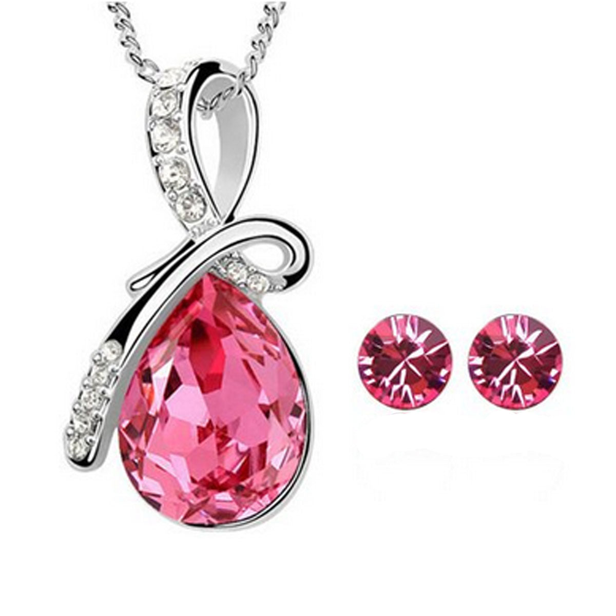 Wrapables Eternal Love Swarovski Elements Crystal Teardrop Pendant Necklace and Stud Earrings Jewelry Set