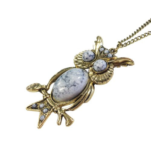 Wrapables White Vintage Owl Necklace