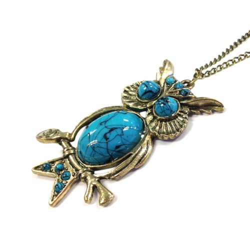 Wrapables Turquoise Vintage Owl Necklace