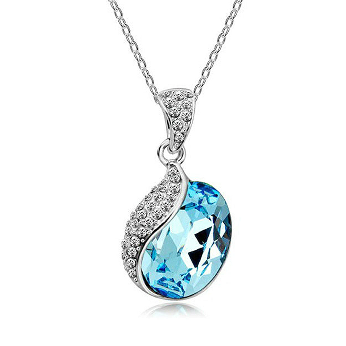 Wrapables Silver Plated Swarovski Elements Crystal Raindrop Necklace
