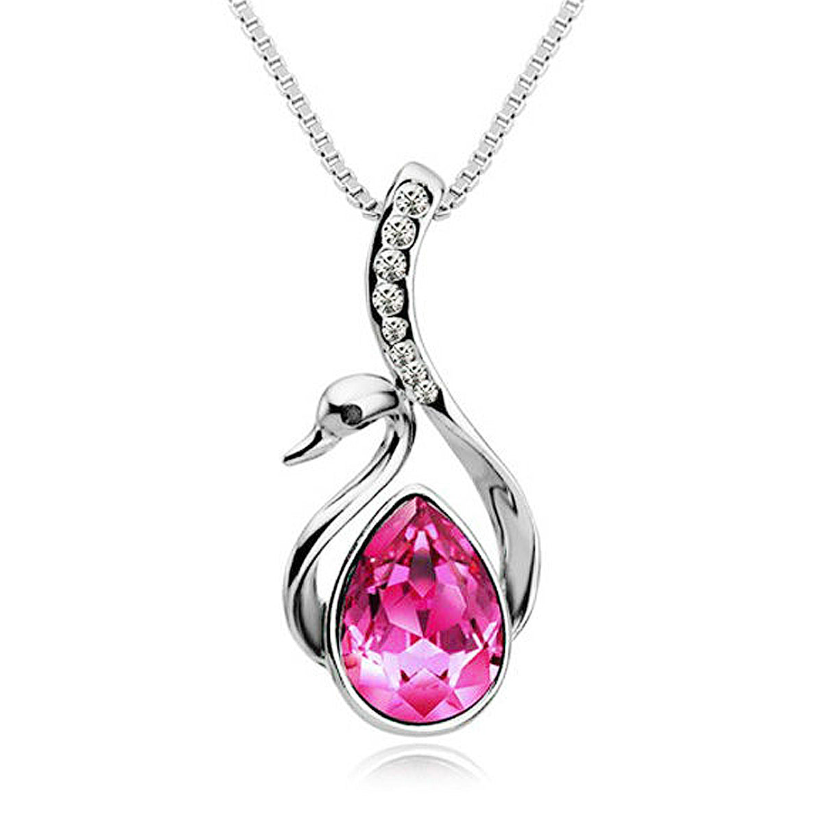 Wrapables Swarovski Elements Crystal Swan Pendant Necklace