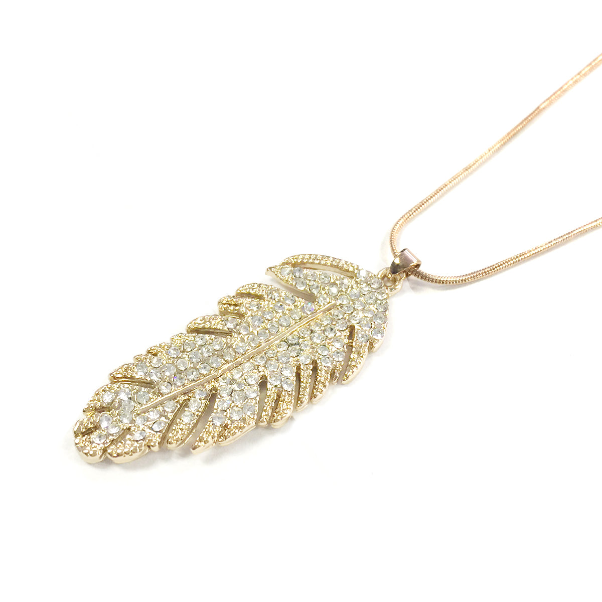 Wrapables Swarovski Elements Crystal Feather Pendant Necklace