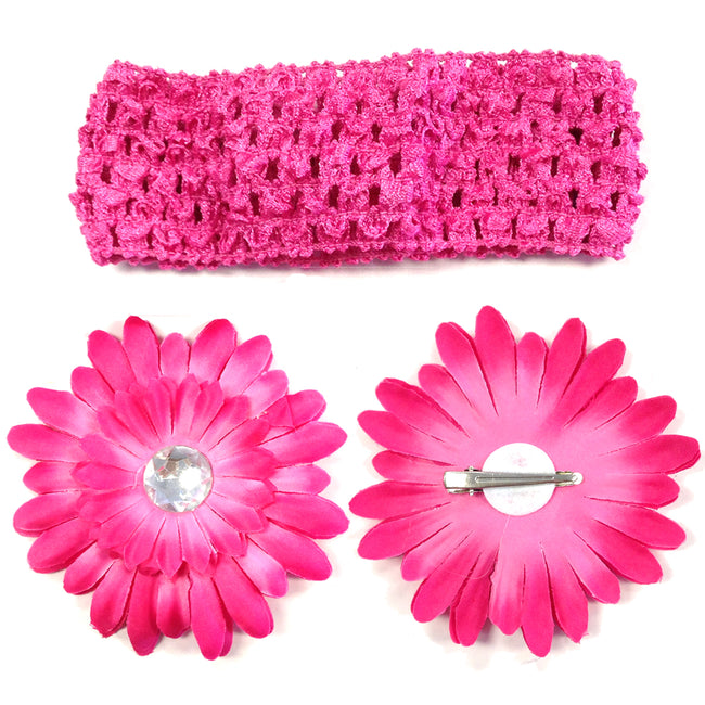 Kella Milla Assorted Gerber Daisy Flower Hair Clips With Soft Stretchy Crochet Baby Headbands (24 Pack, 12 Flowers + 12 Headbands)