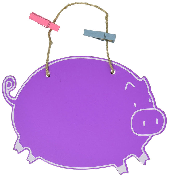 Purple Pig Chalkboard with Clips