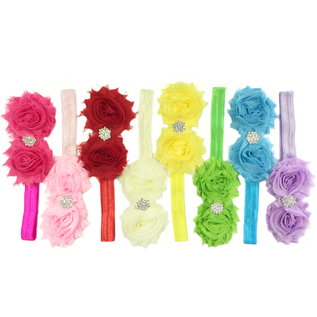 Kella Milla Set of 8 Frayed Shabby Chic Double Rose Baby Headbands