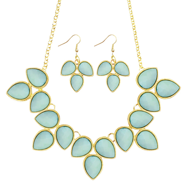 Wrapables Leaf Drop Bubble Statement Necklace and Earring Set