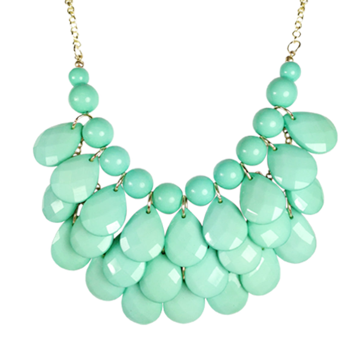 Wrapables Teardrop Bubble Bib Necklace, Light Turqoise