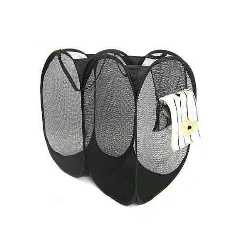 "Black Double Component Pop-Up Mesh Hamper (23"" x 24"")"
