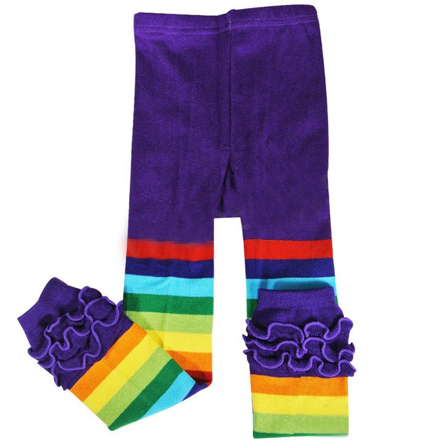 Wrapables Rainbow Ruffle Toddler Leggings - Purple 115cm