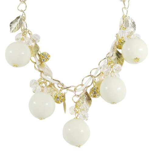 Wrapables Gold Tone Leaf and Crystal Bubble Statement Necklace