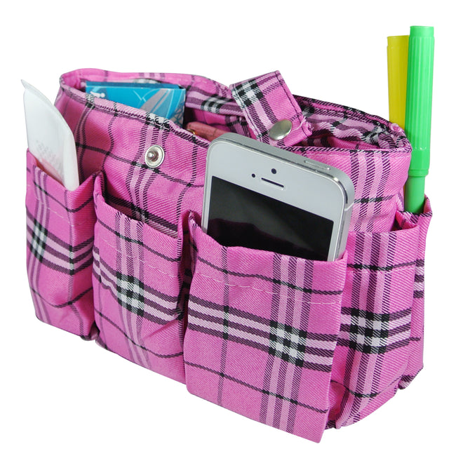 Wrapables Plaid Print Handbag Organizer, Pink