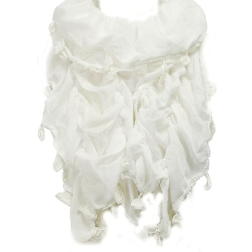 Lightweight Ruched Scarf with Tassel Trim