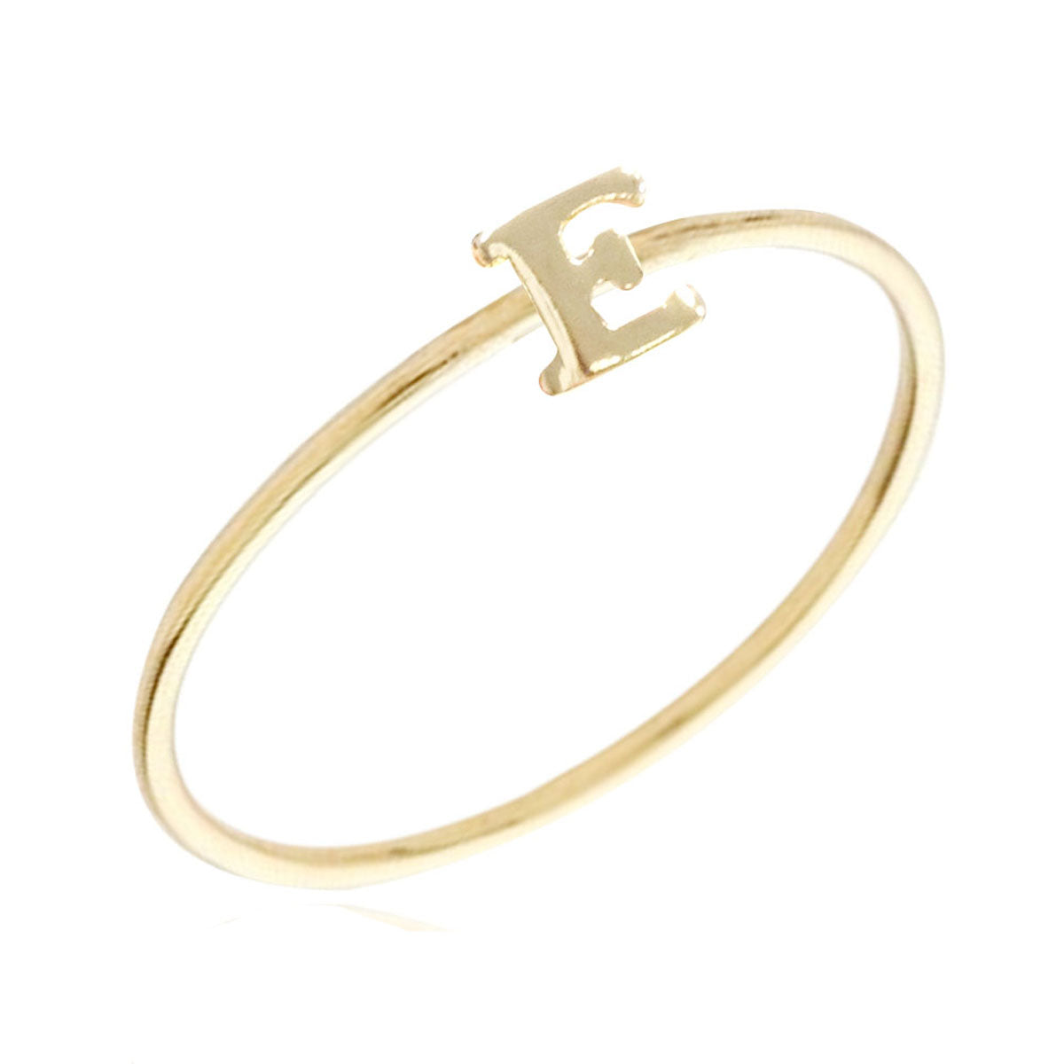 Gold Plated Stackable Initial Letter Ring Size 7