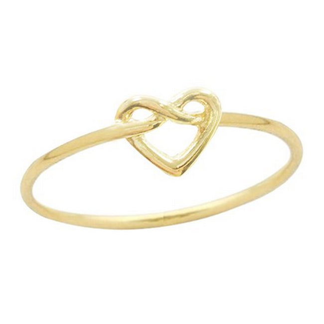 Infinity Love Knot Heart Ring, Gold Plated