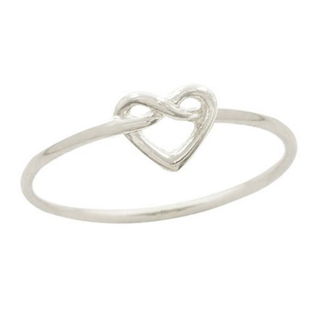 Infinity Love Knot Heart Ring, Rhodium Plated