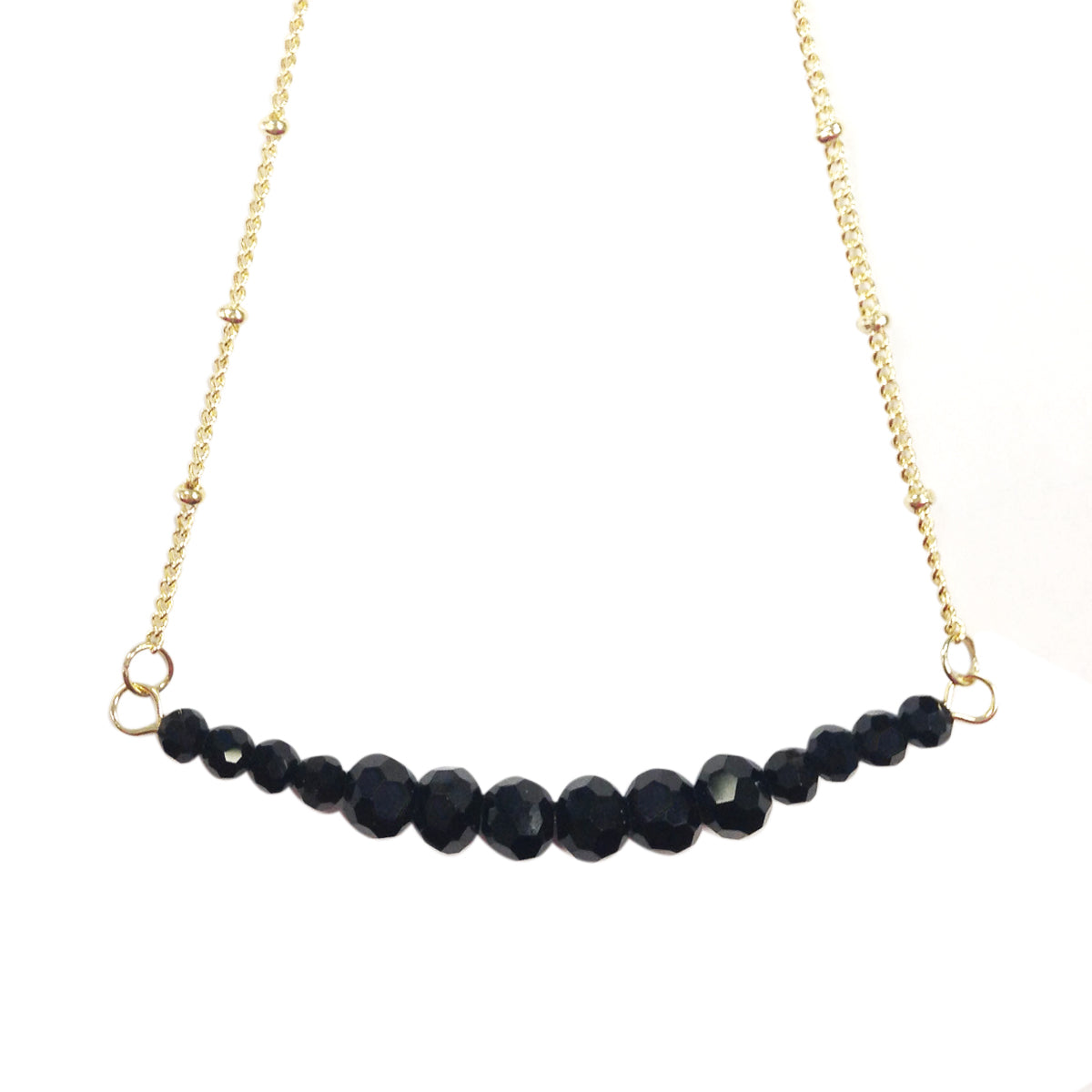 Black Beaded Bar Necklace