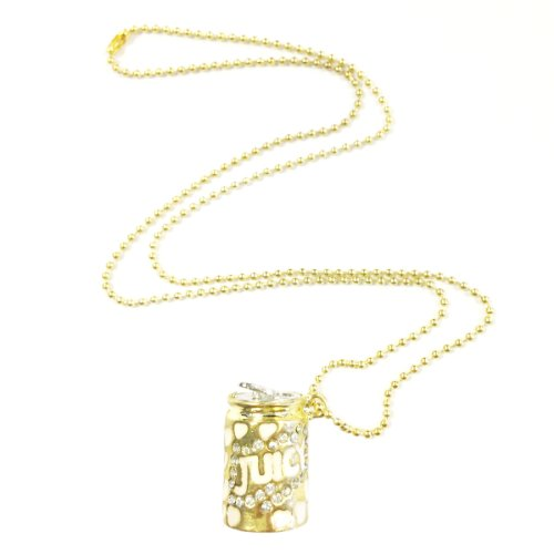Wrapables Gold Tone Juicy Soda Can Charm Pendant Necklace with Rhinestones