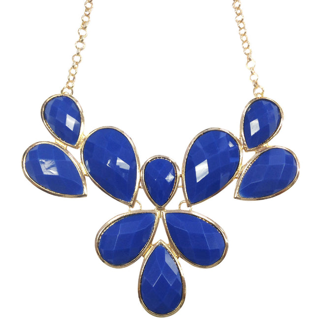 Wrapables Fancy Drop Shape Bubble Bib Statement Necklace, Royal Blue