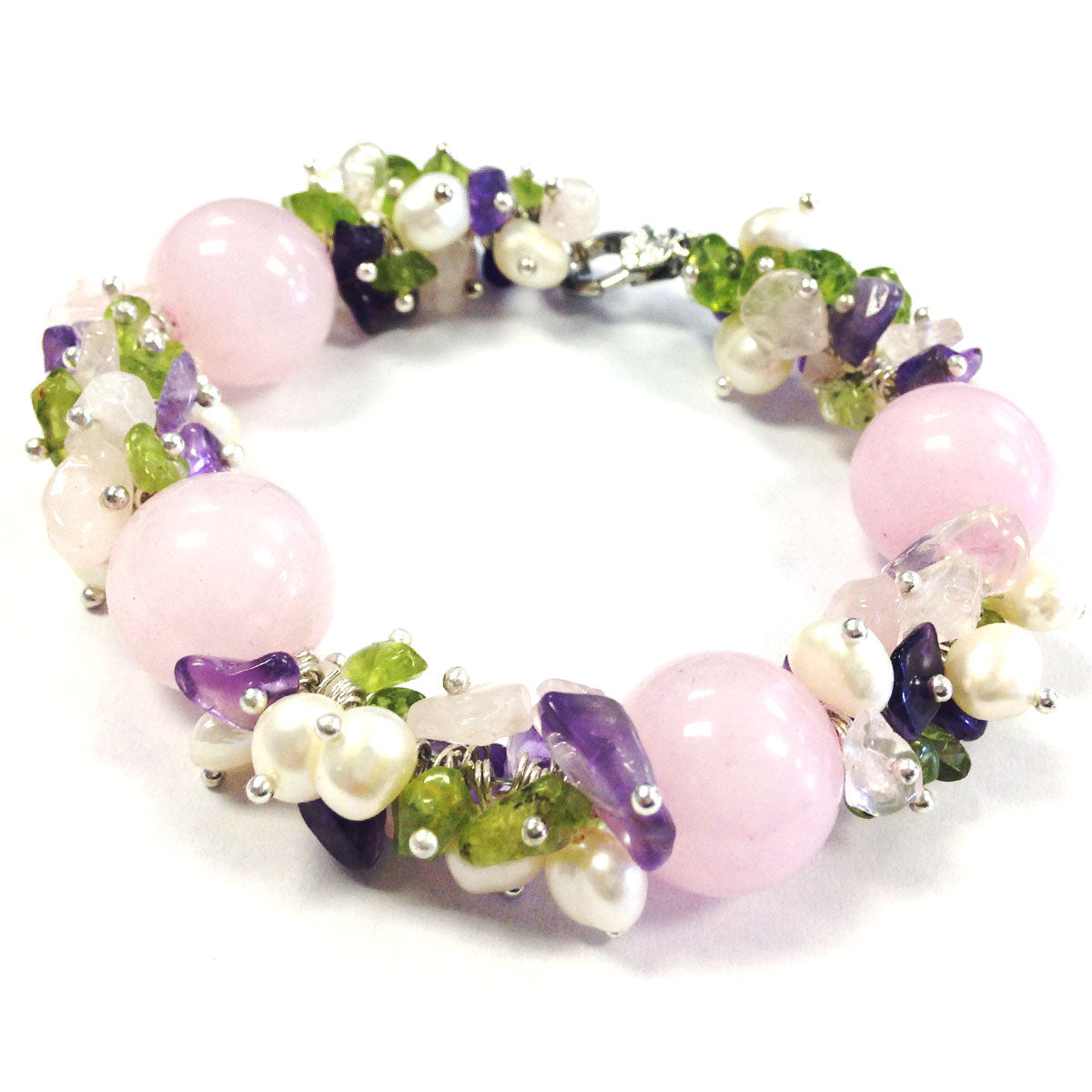 Rose Quartz with Multi-color Cluster Bracelet