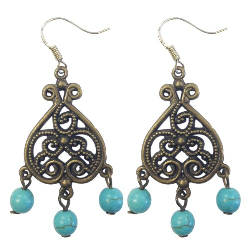 Sea Blue Vintage Heart Chandelier Earrings