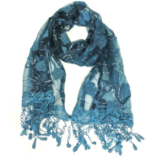 Romantic Dream Floral Lace Long Scarf with Tassel Trim