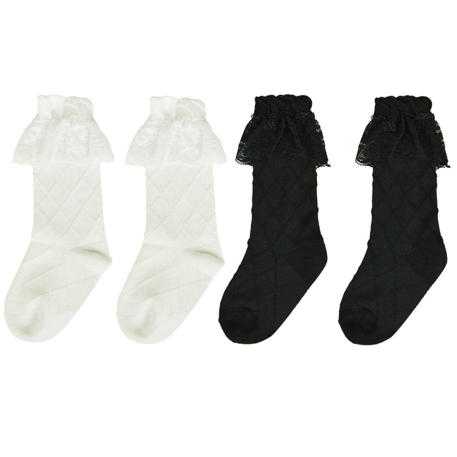 Wrapables Knee High Toddler Girl Socks with Lace Cuff, Set of 2
