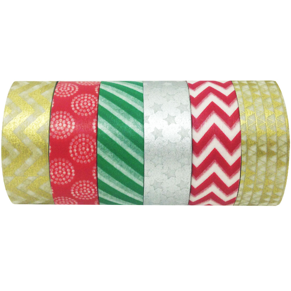 Wrapables Festive Holiday Japanese Masking Tape Washi Tape, Set of 6