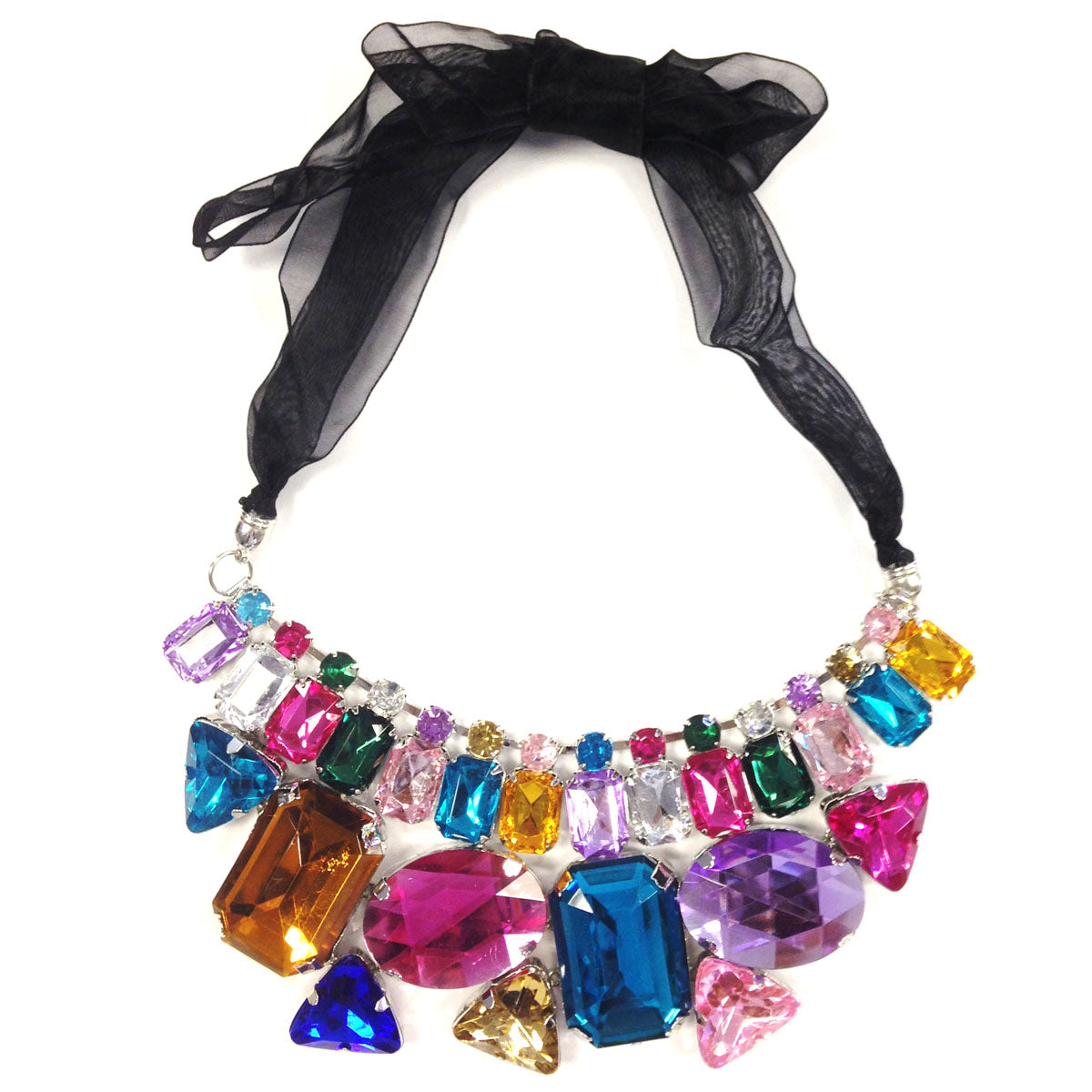 Wrapables Chunky Multicolor Jewel Gem Bib Statement Necklace