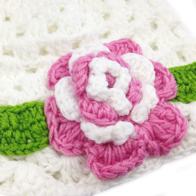Wrapables Crochet Flower Beanie for Baby Girl