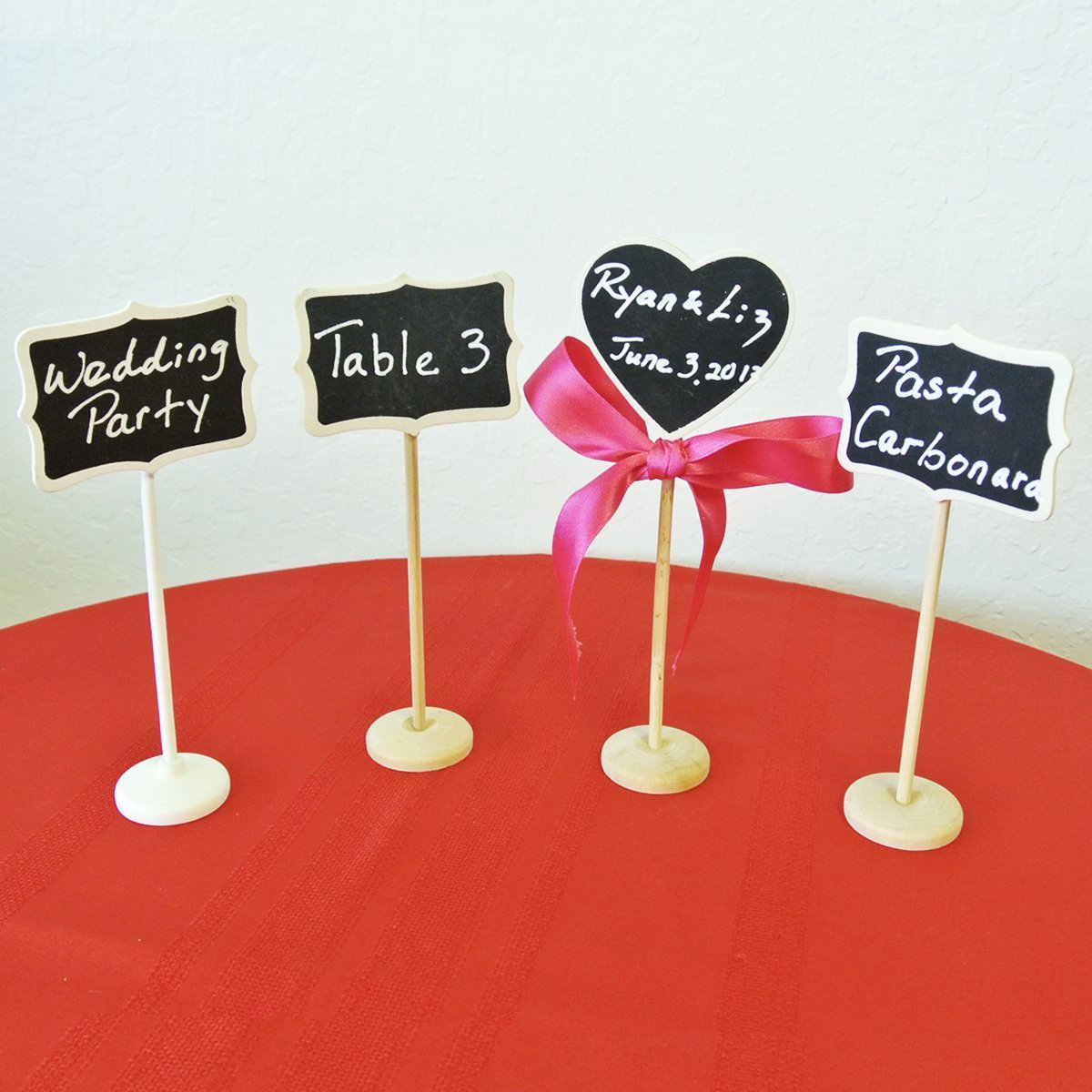 "Set of 8 Chalkboard Stands With Chalkboard Stickers, 3"" x 2.25"" Heart"