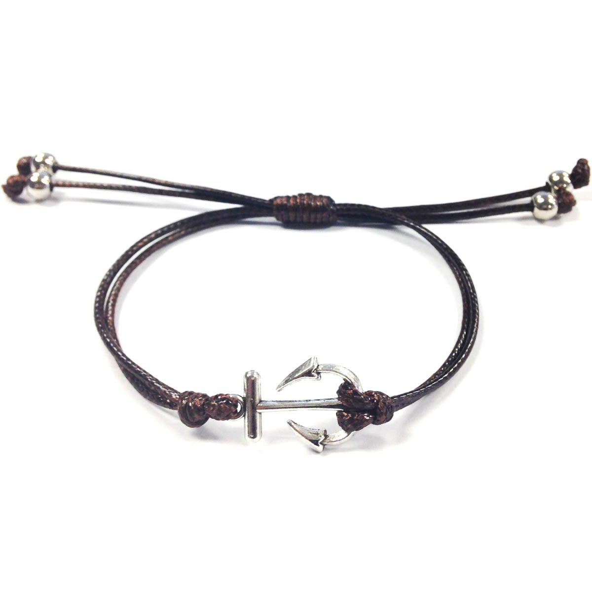 Wrapables Adjustable Anchor Leather Corded Bracelet