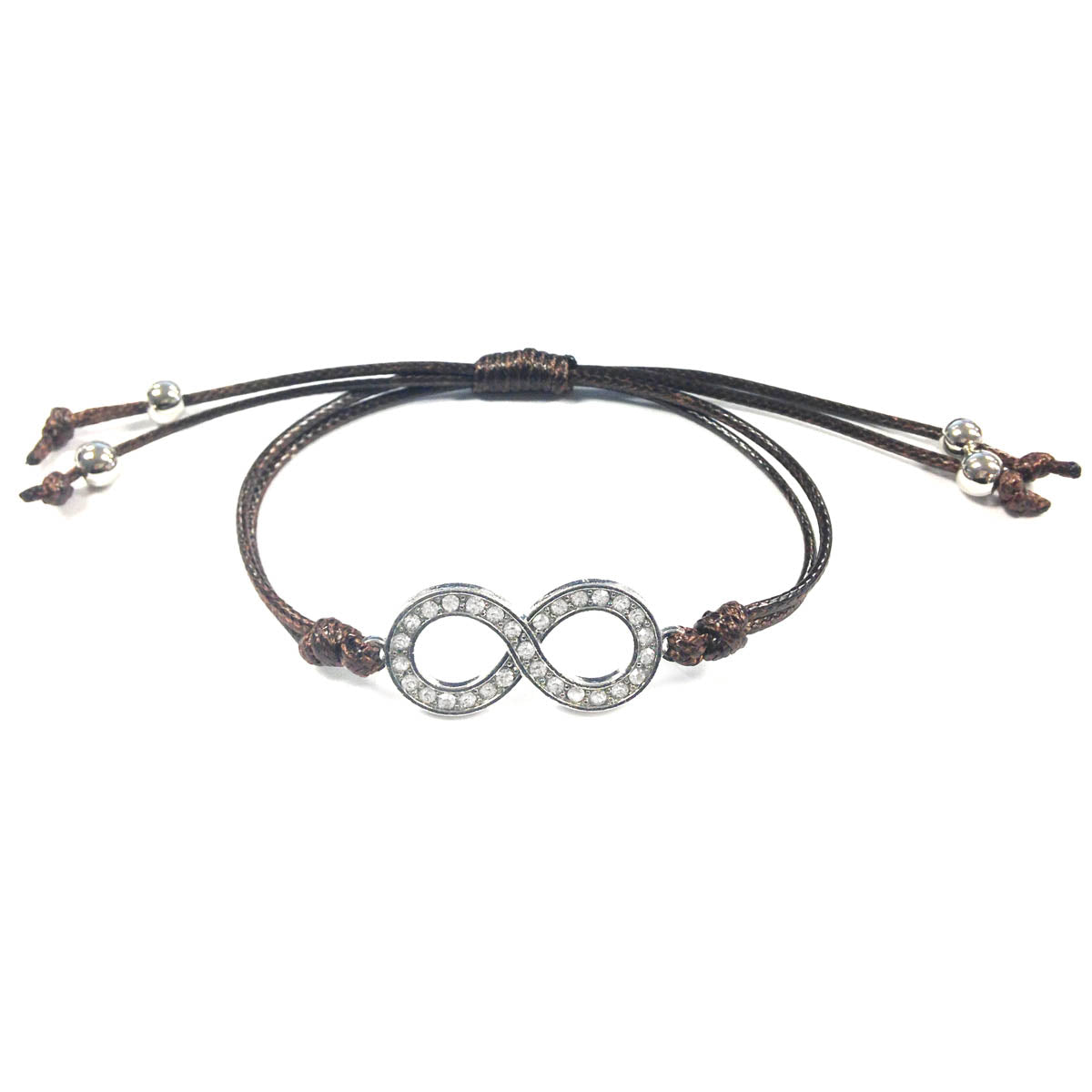Wrapables Adjustable Rhinestone Infinity Leather Corded Bracelet